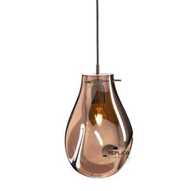 glass pendant light hand blown amber colour