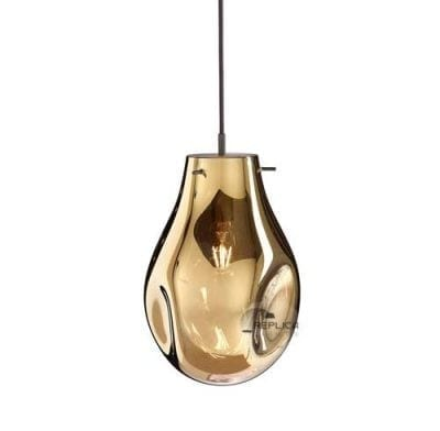 hand blown glass pendant ligt gold