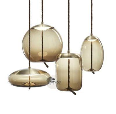 Fabric Cord Glass Pendant Light Group