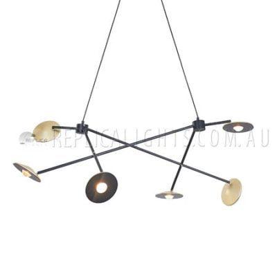 Rising 6 Light Pendant Brass Disc