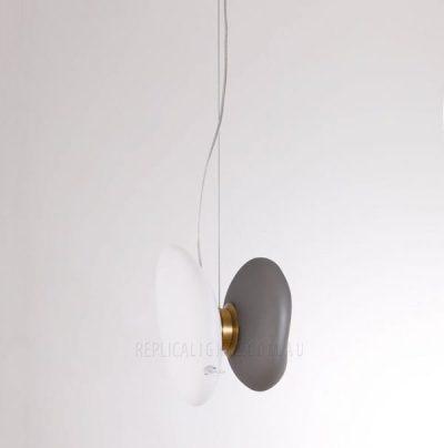 Rock Pendant Charcoal White Glass Pendant Light