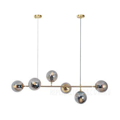 Cule Brass Chandelier Smoked Glass Pendant Light