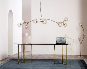 Over dining table glass pendant light