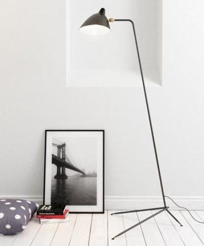 1 Arm Black Designer Floor Lamp by Serge Mouille