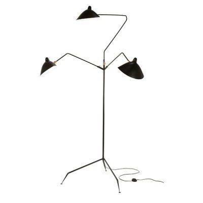 3 Arm Black Designer Floor Lamp by Serge Mouille