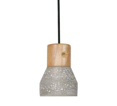Thinkk White Spotted Cement Wood Pendant Light